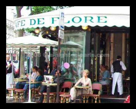 Paris map shows Café Flore in the 6th arrondissement