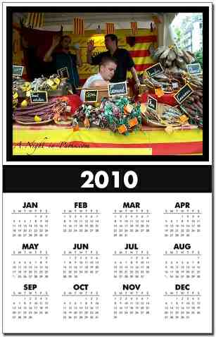 Buy Paris Calendars for 2010 - bustling market stall of dried sausages