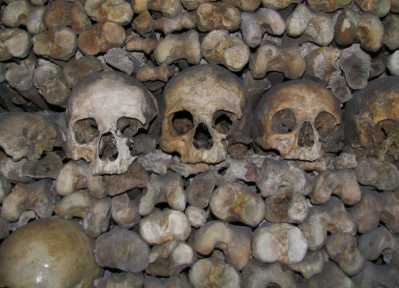 The catacombs of Paris are a fascinating tourist place to visit!