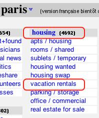 click Vacation Rentals on the Craigslist Paris page