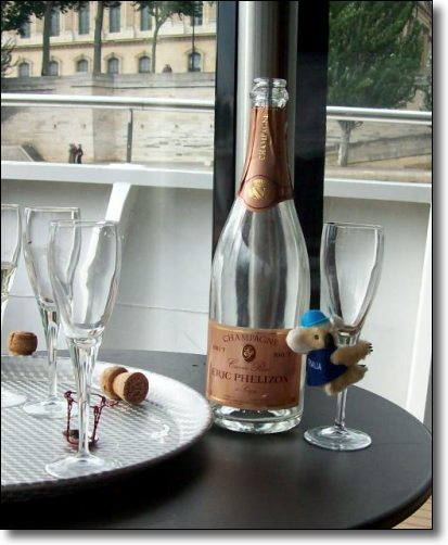 Drinking champagne on a river cruise in Paris - the best champagne!