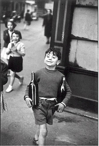 Henri Cartier-Bresson's wonderful photo of young boy with wine