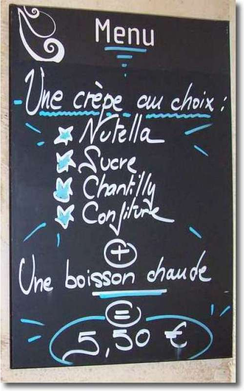 One very famous French food menu item is crepe - sweet or savoury, they're one of my favourites.