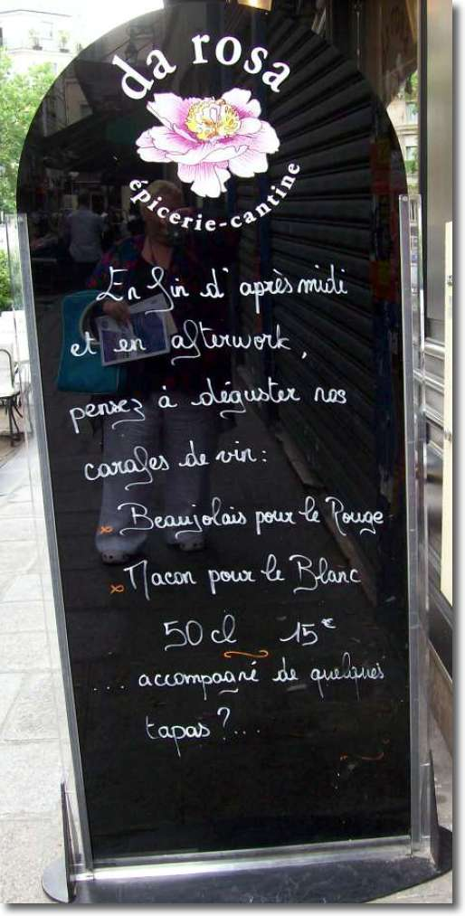 da Rosa's famous French food menu for after work offers wine and tapas.