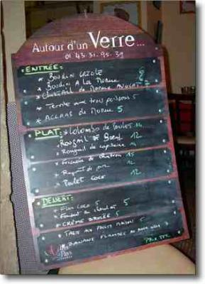 The menu at Cafe Couleurs