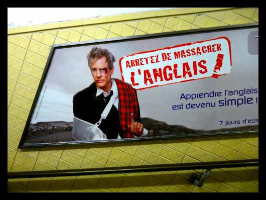 French advertisement: Stop murdering the English language!