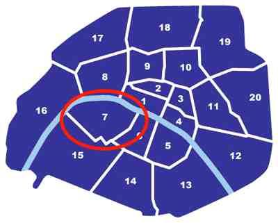 Paris City Map 75007 - getting around in Paris - Paris metro map - map of Paris France