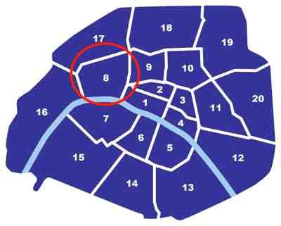 Paris City Map 75008 - getting around in Paris - Paris metro map - map of Paris France