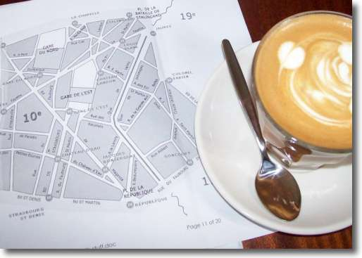 This Paris city map 75010 arrondissement is being read by me in one of my favourite cafes in Sydney, Australia.