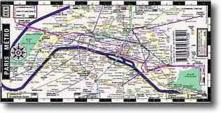 Paris metro map - mini map, foldable, laminated