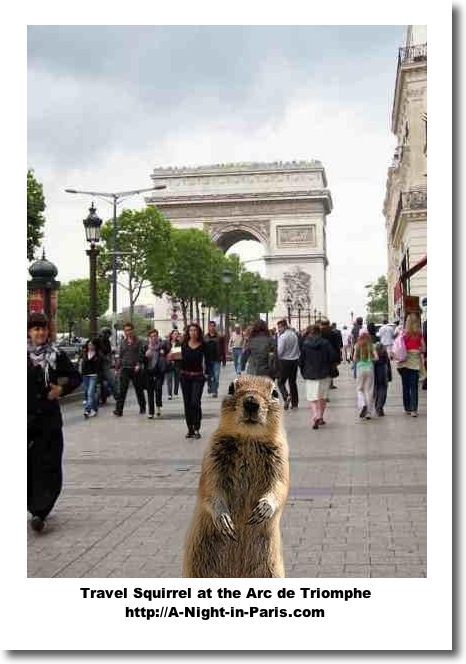 Travel Squirrel in Paris at the ARc de Triomphe