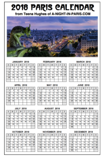 2018 Paris Calendar with Gargoyle - One Page thumbnail