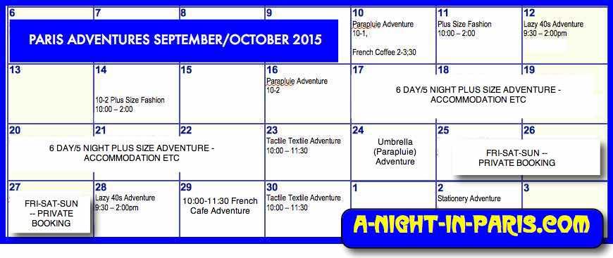 Calendar of Availability for Teena in September 2015