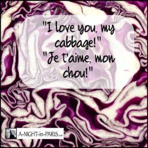 I love you my cabbage! Je t'aime mon chou!
