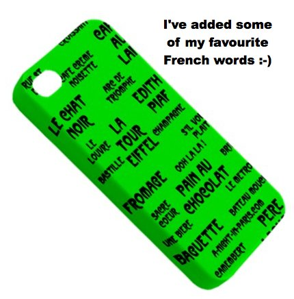 Smart phone covers with French words designed by Teena Hughes (image)