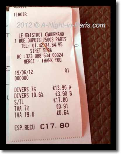 Le Bistrot Gourmand - receipt (image)