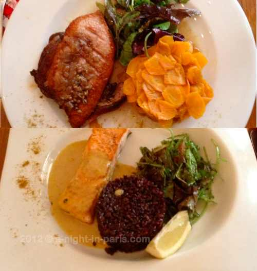 Les Mandibules restaurant Duck & Salmon dishes (images)