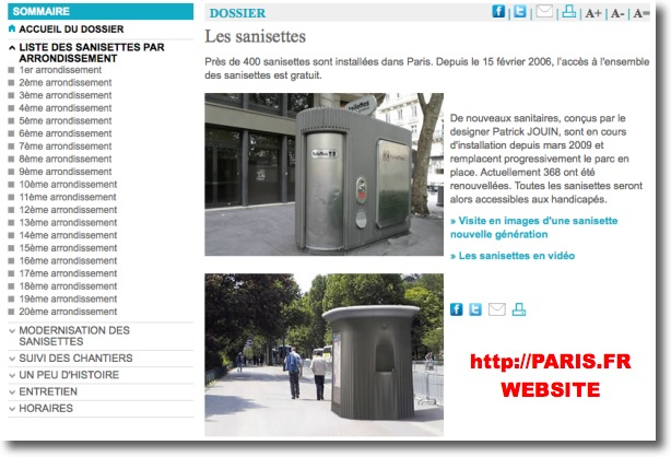 Location of public toilets in Paris (snapshot image from paris.fr website)