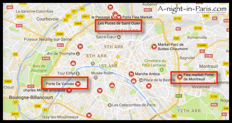 Map of 3 Flea Markets in Paris