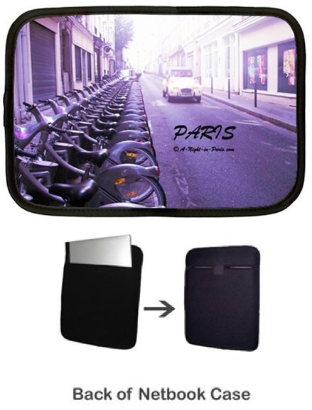 Netbook Cover with Paris car & velib bicycles (image)
