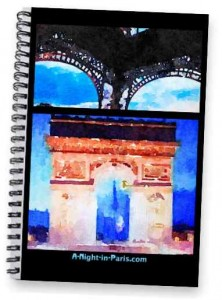 Paris Notebook Eiffel Tower legs & Arc de Triomphe