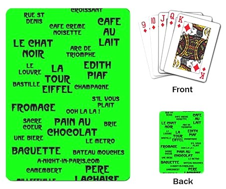 Pack of playing cards with French words (image)