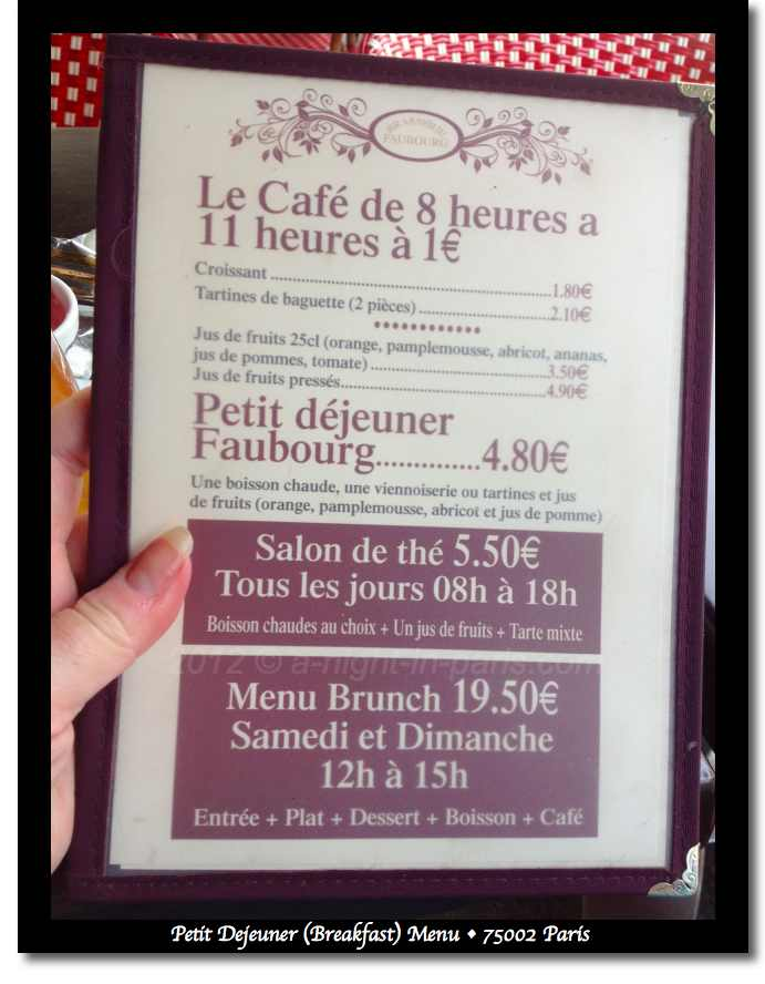 Petit Dejeuner in Paris - menu 4.80 euro (image)
