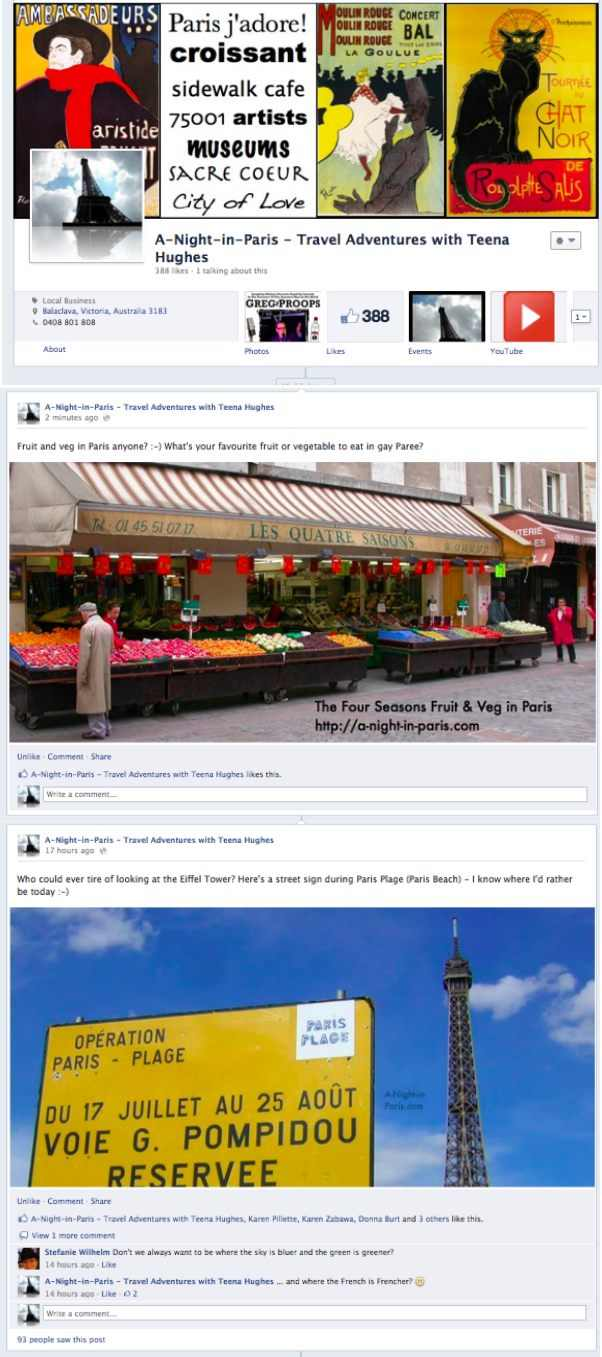 Postcards from Paris facebook page with Teena Hughes