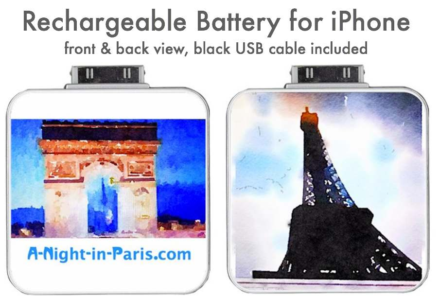 Rechargeable battery for iPhone Eiffel Tower and Arc de Triomphe