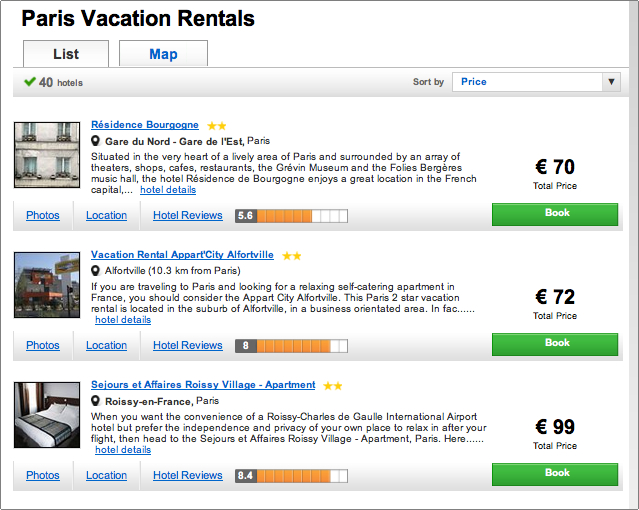 Short rental in Paris example search results from the Hotel search engine