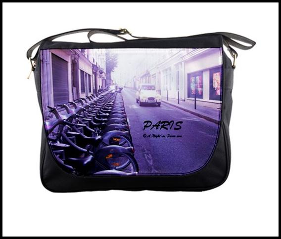 Shoulder bag (purple) with Velibs and Citroen 2CV (image by Teena Hughes)