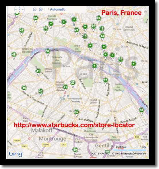 Map of Starbucks wifi cafes in Paris, France (image)