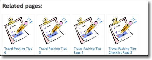 Travel Packing Tips clickable related pages